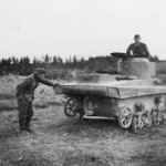 knocked out Soviet T-37 Amphibious Light Tank