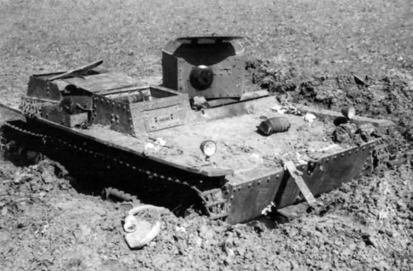 knocked out soviet amphibious light tank T-38