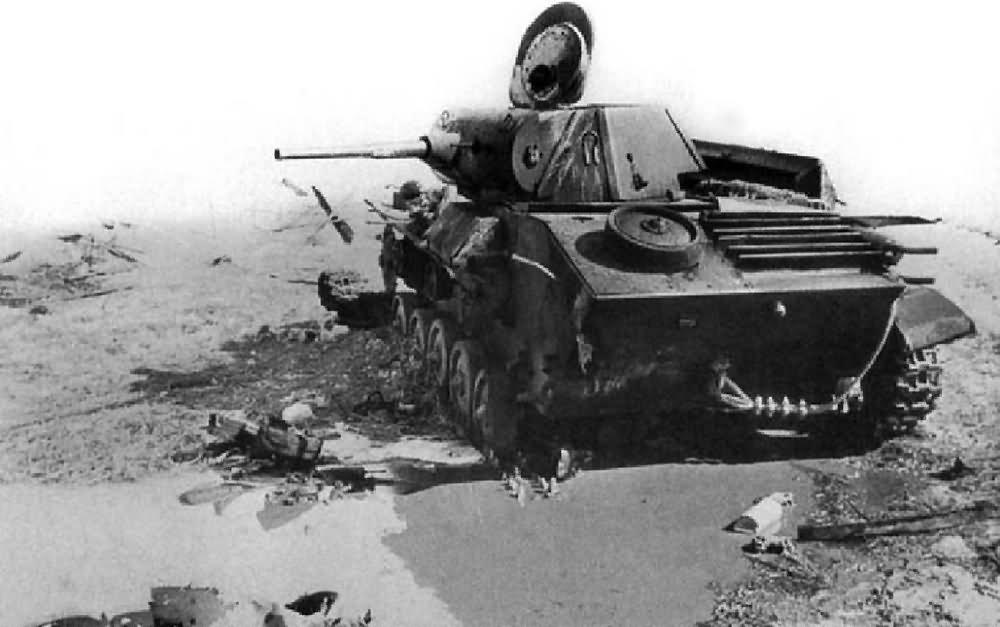 Destroyed soviet light tank T-70 tank 2