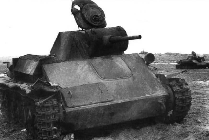 Destroyed T-70 tank