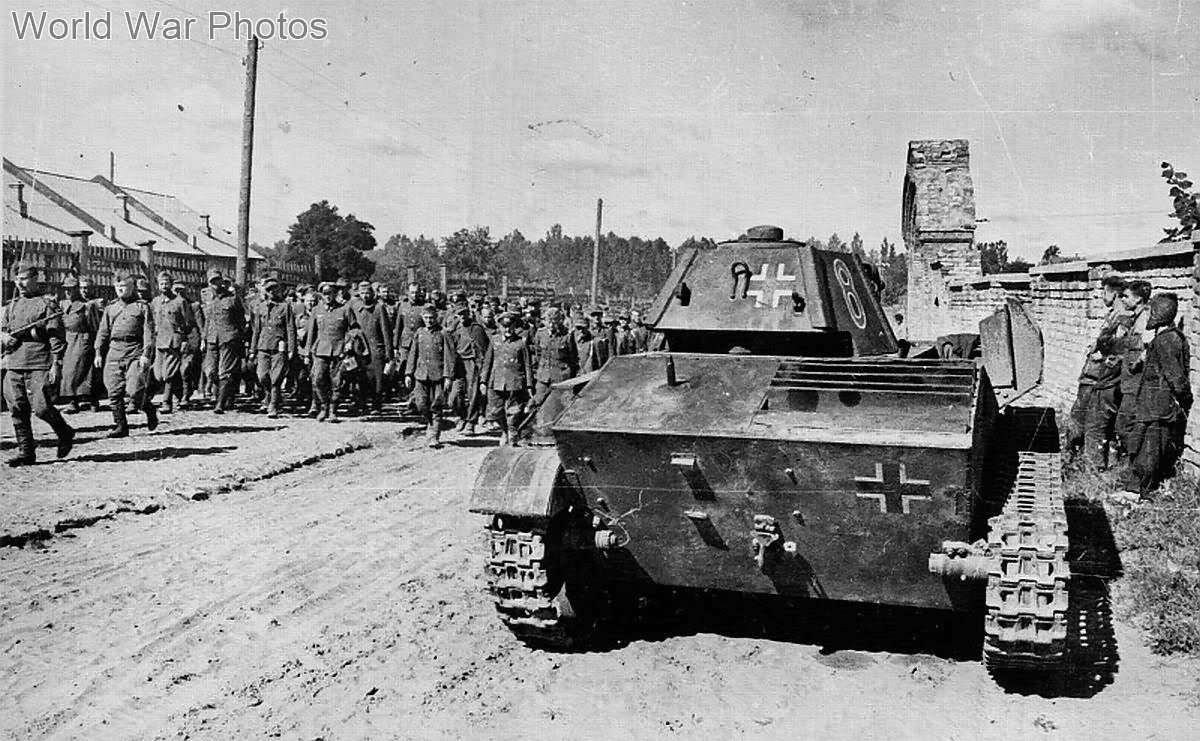 German prisoners and ex-german T-70 near Kiev August 16, 1944