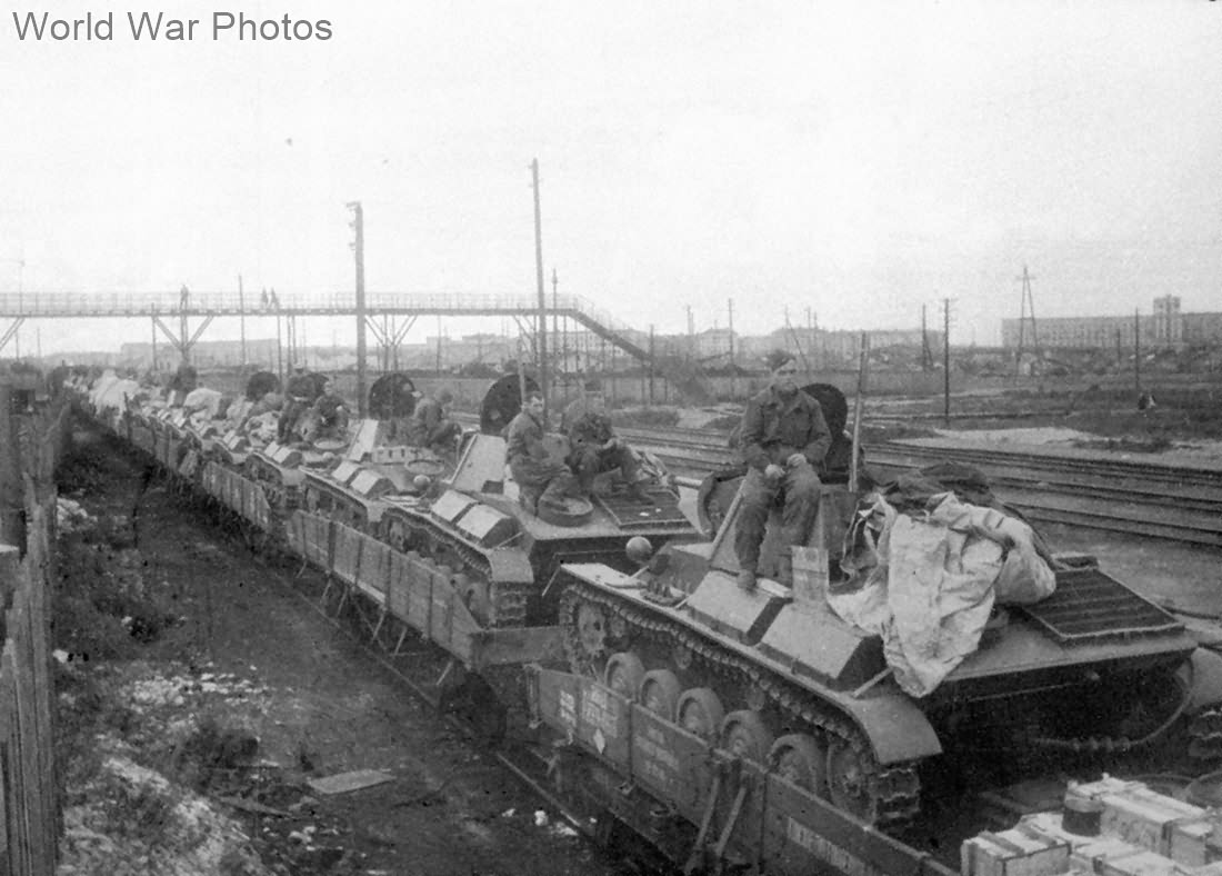 T-70 loaded onto a rail car for transport