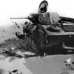 Destroyed soviet light tank T-70 tank 2
